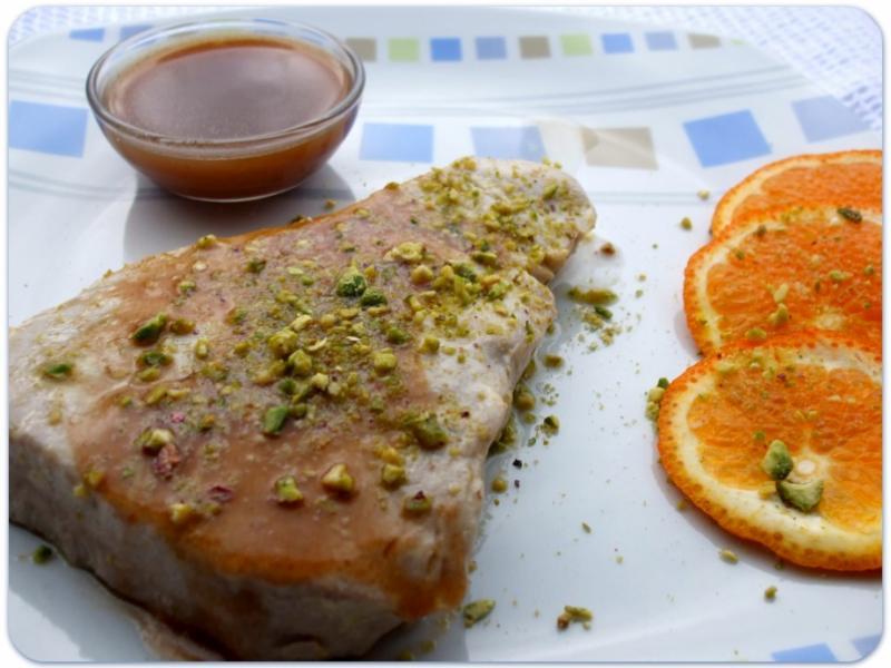 salmone arancia e pistacchio